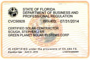 Certified Solar Contractor - State of Florida
