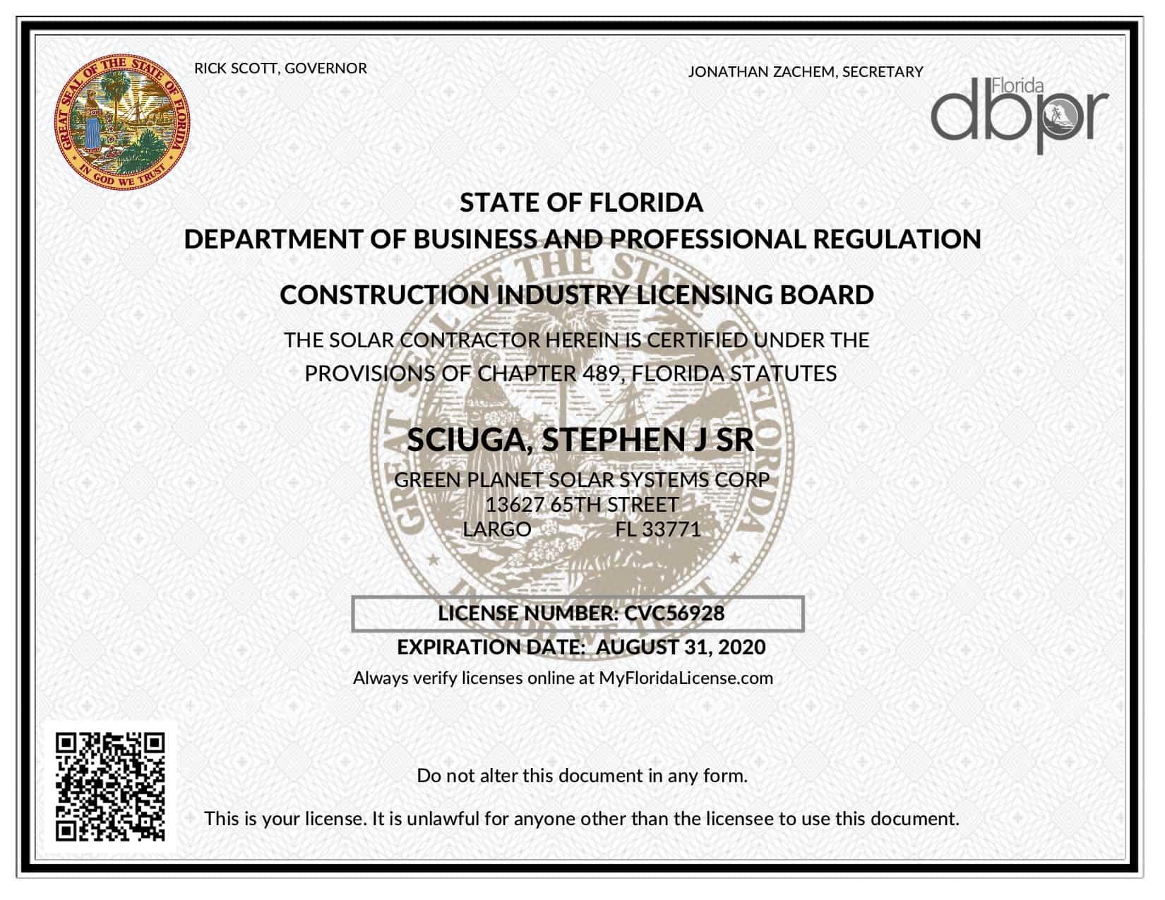 Green Planet Solar Systems Florida Solar Contractors License CVC56928